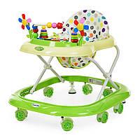 Детские Ходунки со съемной музыкальной панелью, мягким сиденьем, регулировка по высоте, колеса салатовый -