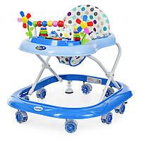 Детские Ходунки со съемной музыкальной панелью и мягким сиденьем, регулировка по высоте, колеса, синий - Bambi