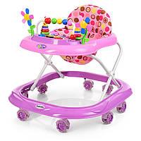 Детские Ходунки: съемная музыкальная панель, мягкое сиденье, регулировка по высоте, колеса, фиолетовый - Bambi