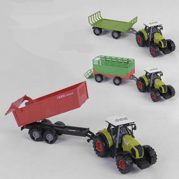 Тракторы с прицепами набор детский игрушечный Farm Truck со звуками и светом Зеленый (57113)