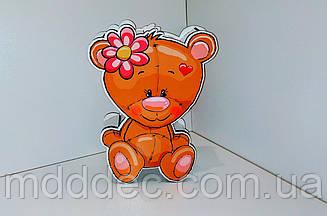 Деревянная коробка на 8 марта, упаковка для подарков Мишка цветная печать