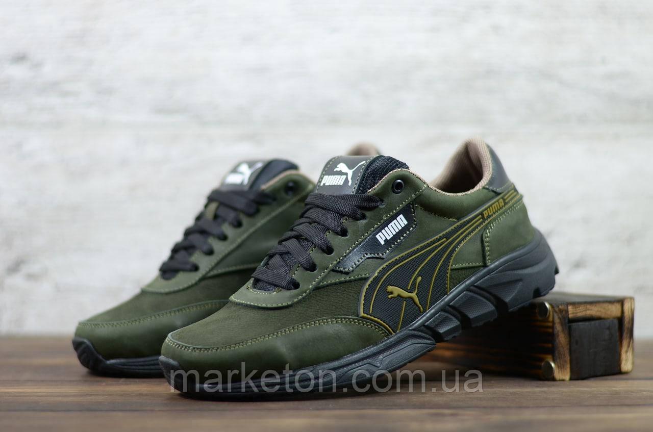 Мужские кожаные кроссовки Зелёные Puma