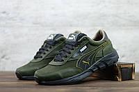 Мужские кожаные кроссовки Зелёные Puma, фото 1