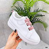 Кеды / кроссовки женские белые  розовым на липучке эко кожа, фото 4