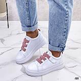 Кеды / кроссовки женские белые  розовым на липучке эко кожа, фото 5