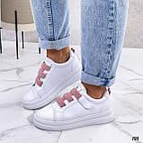 Кеды / кроссовки женские белые  розовым на липучке эко кожа, фото 3
