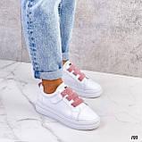 Кеды / кроссовки женские белые  розовым на липучке эко кожа, фото 7