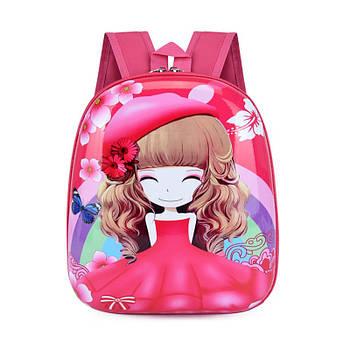 Детский рюкзак с твердым корпусом Lesko DK-13 Девочка в Красной шляпе принтом
