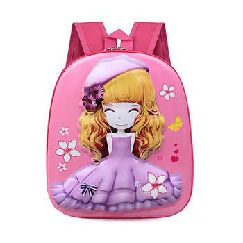 Детский рюкзак с твердым корпусом Lesko DK-13 Девочка в Фиолетовой шляпе принтом