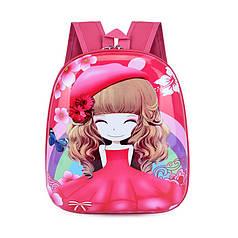 Дитячий рюкзак Lesko DK-13 Дівчинка в Червоному капелюсі з твердим корпусом принтом