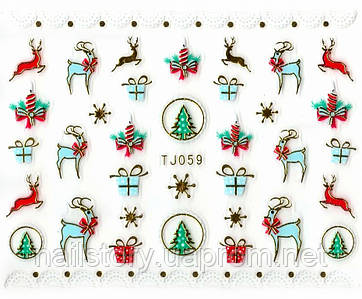 Новогодние наклейки с золотым литьем TJ059