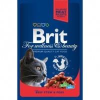 Brit Premium Cat Pouches with Beef Stew and Peas паучи для взрослых кошек с кусочками тушеной говядины и горохом, 100г