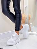 ТОЛЬКО 25,5 см!!! Стильные кроссовки женские белые на платформе 7 см эко-кожа, фото 7