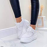 ТОЛЬКО 25,5 см!!! Стильные кроссовки женские белые на платформе 7 см эко-кожа, фото 8