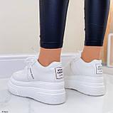 ТОЛЬКО 25,5 см!!! Стильные кроссовки женские белые на платформе 7 см эко-кожа, фото 3