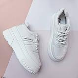 ТОЛЬКО 25,5 см!!! Стильные кроссовки женские белые на платформе 7 см эко-кожа, фото 4