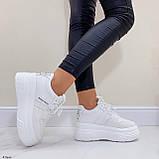 ТОЛЬКО 25,5 см!!! Стильные кроссовки женские белые на платформе 7 см эко-кожа, фото 6