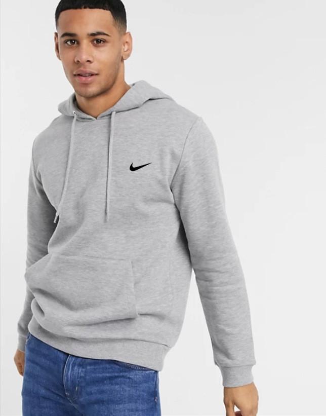 Чоловіча спортивна кофта кенгуру, толстовка Nike (Найк) сіра