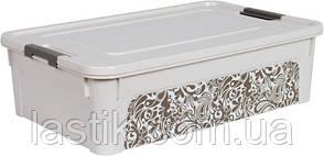 /Контейнер Smart Box с декором Home 14л белая роза/какао
