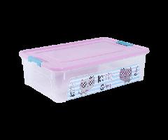/Контейнер Smart Box с декором Pet Shop 14л прозрачный/розовый/бирюзовый