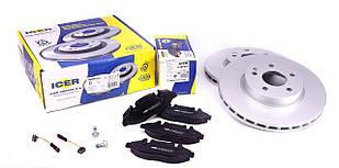 Гальмівний диск передній (диски+колодки з датчиками)(300х28) Mersedes Vito 639 2003 - ICER (Іспанія) 31675-0415