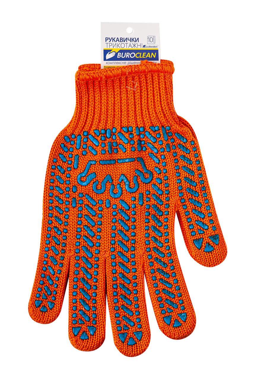 /Перчатки оранжевые с ПВХ точкой 6 нитей BuroClean EuroStandart