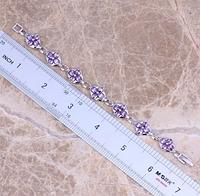 Жіночий срібний браслет з аметистом
