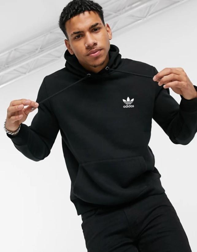 Чоловіча спортивна кофта кенгуру, толстовка Adidas (Адідас) чорна