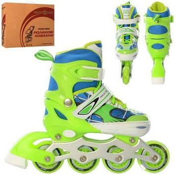 Детские роликовые коньки светится переднее колесо, регулируется длина (размер 27-30), зеленые