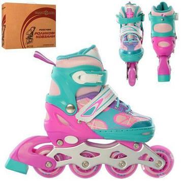 Мягкие роликовые коньки с регулировкой длины (31-34 размер) фиолетово-бирюзовый цвет