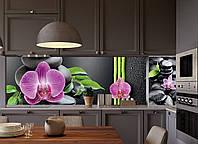 Скинали на кухню Zatarga Гармония 650х2500 мм черный виниловая 3Д наклейка кухонный фартук самоклеящаяся, фото 1