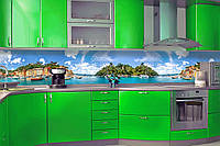 """Скинали на кухню Zatarga """"Природа """" 650х2500 мм зеленый виниловая 3Д наклейка кухонный фартук самоклеящаяся"""
