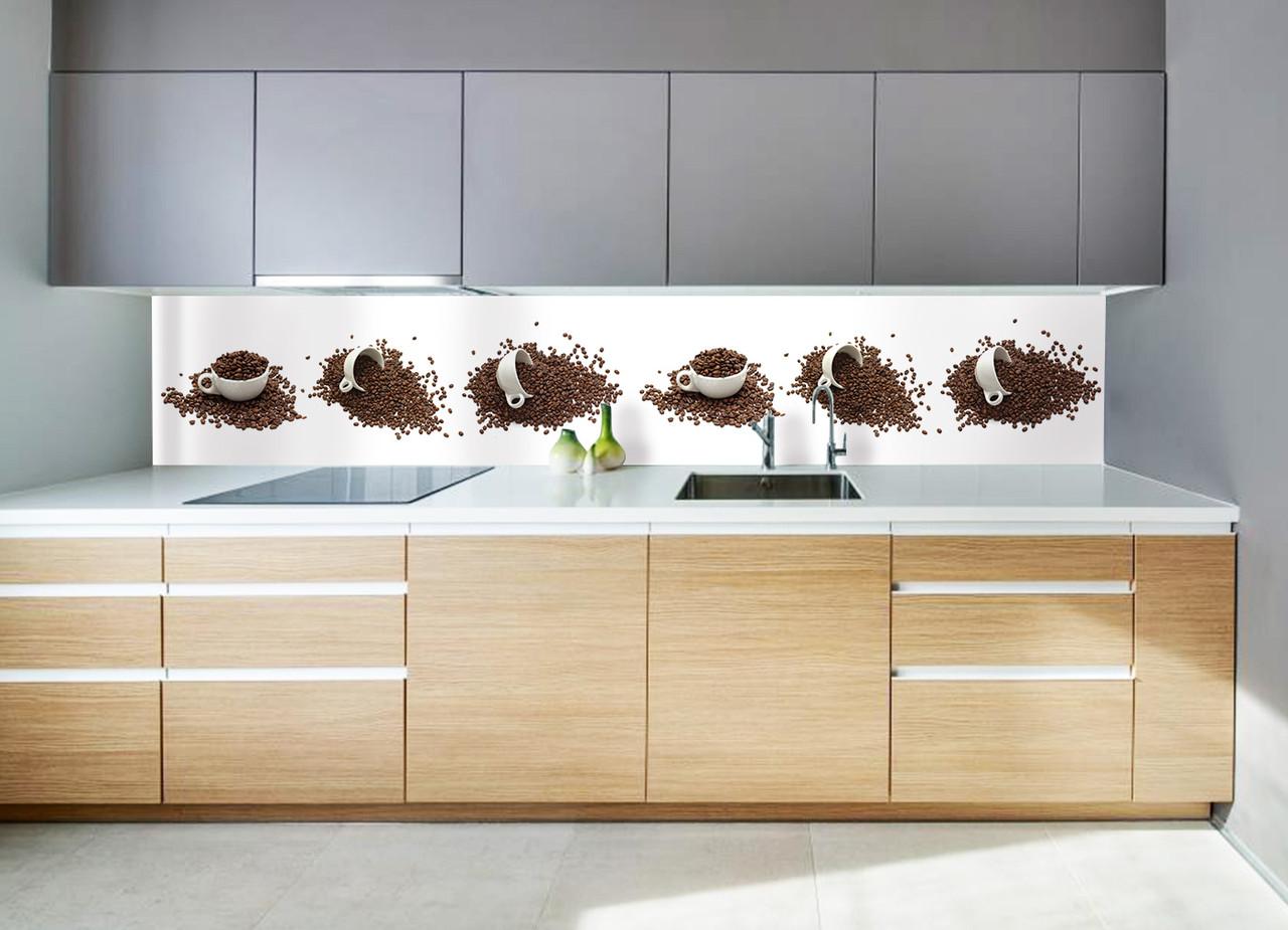 """Скинали на кухню Zatarga """"Кофейные чашки"""" 650х2500 мм белый виниловая 3Д наклейка кухонный фартук для стен,"""