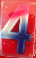 Свічка цифра Триколірна 4