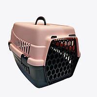 Переноска контейнер для котов и собак Senyayla пудра 49*35*32,5 см