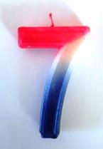 Свеча цифра Трехцветная 7