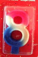 Свеча цифра Трехцветная 8