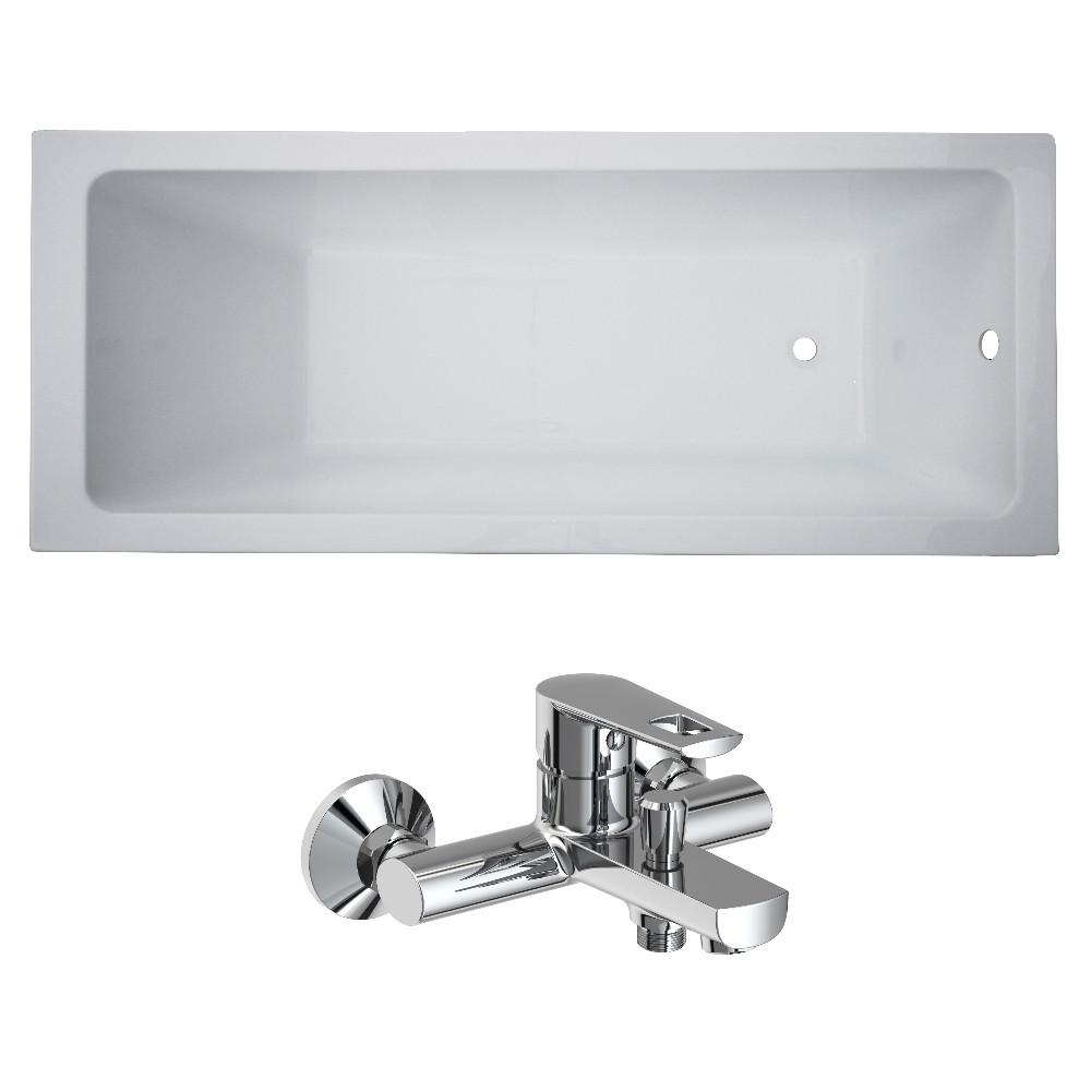 Ванна VOLLE LIBRA 150x70x45,8 см без ніжок + BENITA змішувач для ванни, хром 35мм