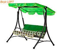 Качели для дачи на 3 места Келли Витан Шотландка зеленая, нагрузка 250кг. Качели с тентом для взрослых и детей