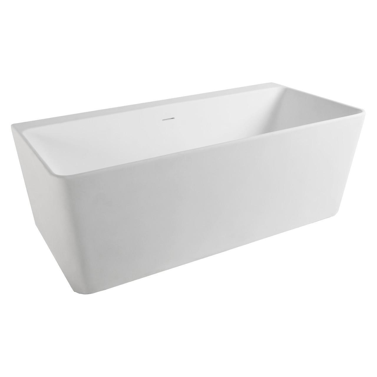 Ванна VOLLE 165x80x59 см окремостояча / пристінна кам'яна Solid surface