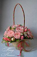 """Букет з цукерок """"Коралові троянди"""""""