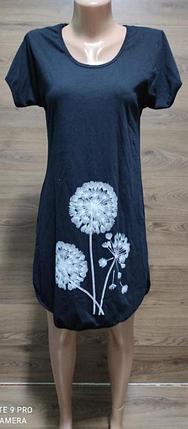 Домашнє плаття-туніка з бавовни великого розміру з принтом кульбаб 44-62 р, фото 2