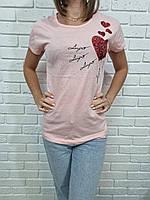 Футболка молодежная для девушек с пайетками Сердечки размер норма 44-48, цвет уточняйте при заказе, фото 1