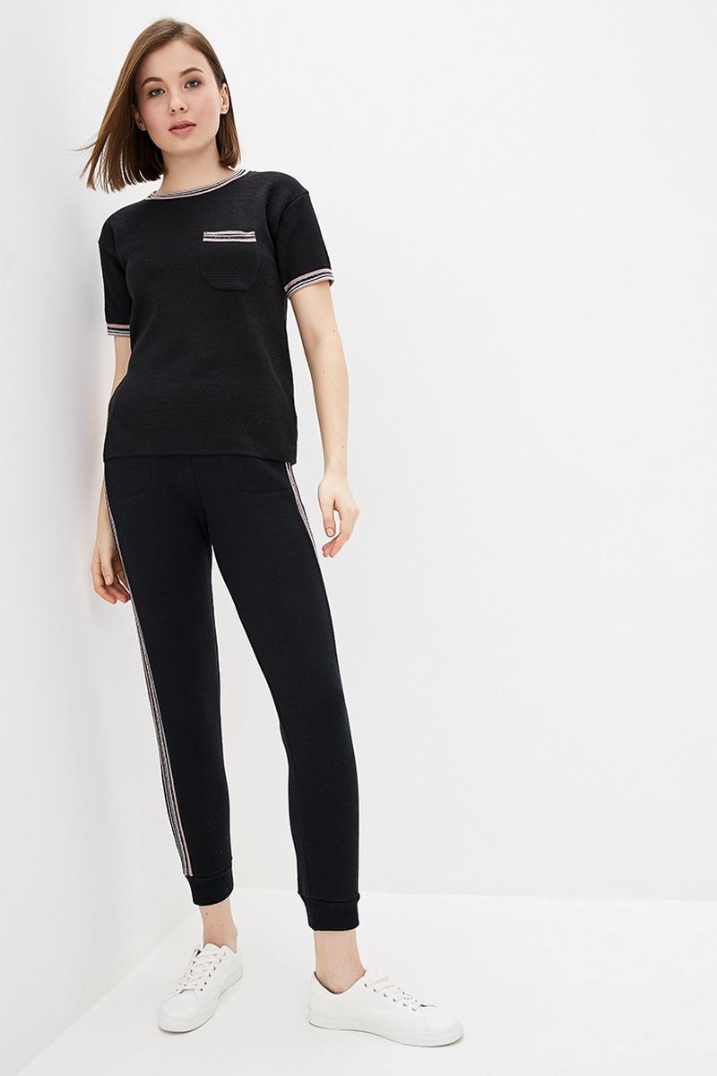 Вязаный прогулочный костюм из хлопковой пряжи. Размер 42-44, 46-48. Цвет черный.