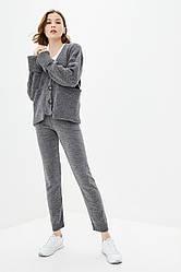 Вязаный костюм из теплой пушистой нитки. Размер 42-44, 46-48. Цвет серый.