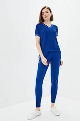 Легкий вязаный костюм из хлопковой пряжи. Цвет синий. Размер 42-44, 46-48. 50% хлопок/ 50% акрил