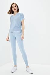 Легкий вязаный костюм из хлопковой пряжи. Цвет голубой. Размер 42-44, 46-48. 50% хлопок/ 50% акрил