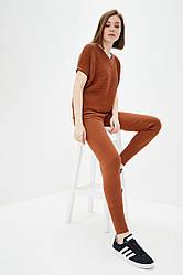 Легкий вязаный костюм из хлопковой пряжи. Цвет коричневый. Размер 42-44, 46-48. 50% хлопок/ 50% акри