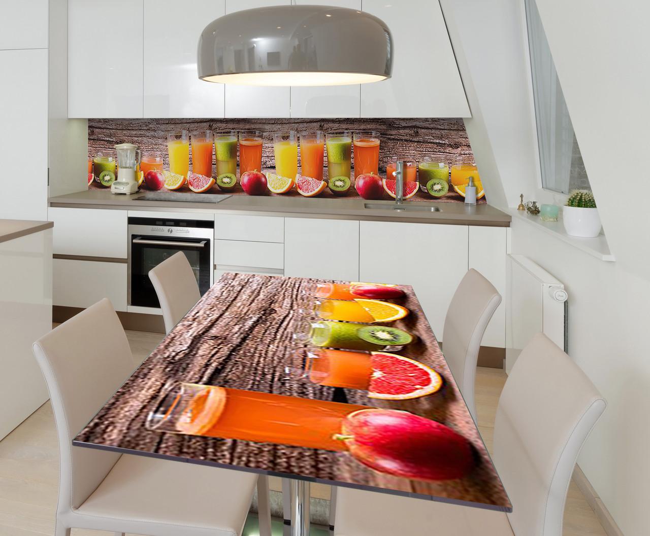 Наклейка 3Д виниловая на стол Zatarga «Смузи» 650х1200 мм для домов, квартир, столов, кофейн, кафе