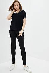 Легкий вязаный костюм из хлопковой пряжи. Цвет черный. Размер 42-44, 46-48. 50% хлопок/ 50% акрил